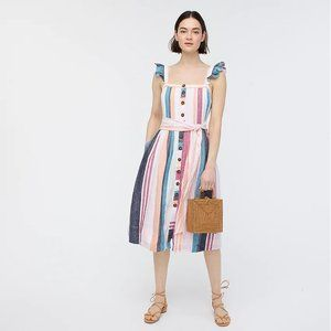 Button-up midi dress in mixed stripe